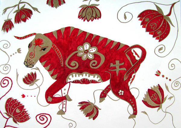 Ox Print featuring the drawing Chinese Year Of The Ox by Barbara Giordano