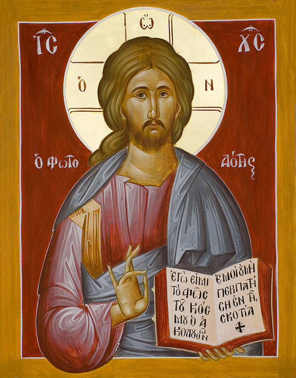 Christ Print featuring the painting Christ The Light-giver by Julia Bridget Hayes