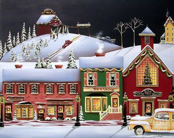 Art Print featuring the painting Christmas In Holly Ridge by Catherine Holman