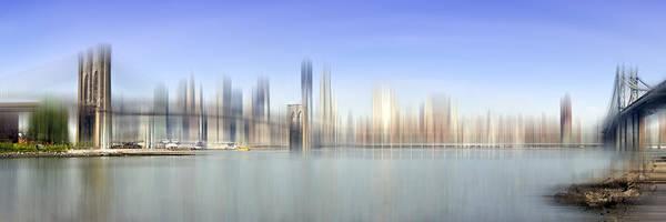 Distance Print featuring the photograph City-art Manhattan Skyline I by Melanie Viola