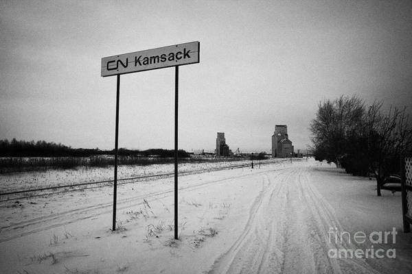 Station Print featuring the photograph Cn Canadian National Railway Tracks And Grain Silos Kamsack Saskatchewan Canada by Joe Fox