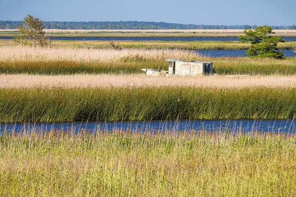 Coastal Landscape Print featuring the photograph Coastal Marshlands With Old Fishing Boat by Bill Swindaman
