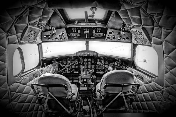 Restoration Print featuring the photograph cockpit of a DC3 Dakota by Paul Fell
