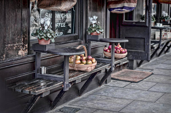Bench Print featuring the photograph Coffe Shop Cafe by Heather Applegate