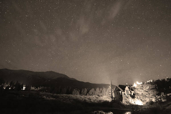 Chapel On The Rock Print featuring the photograph Colorado Chapel On The Rock Dreamy Night Sepia Sky by James BO Insogna