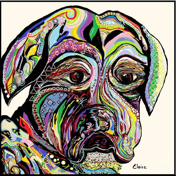 Dog Print featuring the painting Colorful Boxer by Eloise Schneider