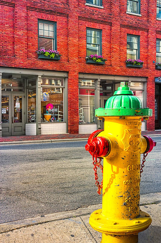 Asehville Print featuring the photograph Colorful Fire Hydrant On The Streets Of Asheville by Mark E Tisdale