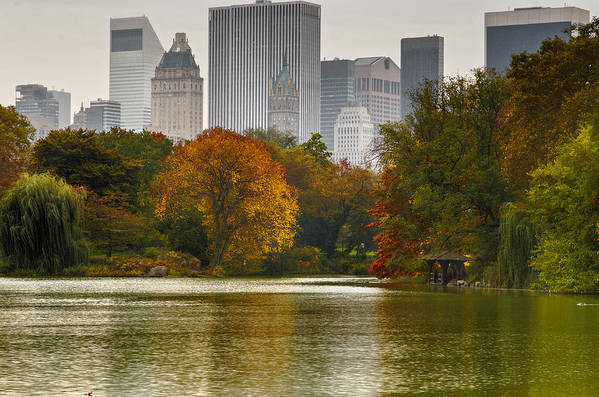 New York City Skyline Print featuring the photograph Colorful Magic In Central Park New York City Skyline by Silvio Ligutti