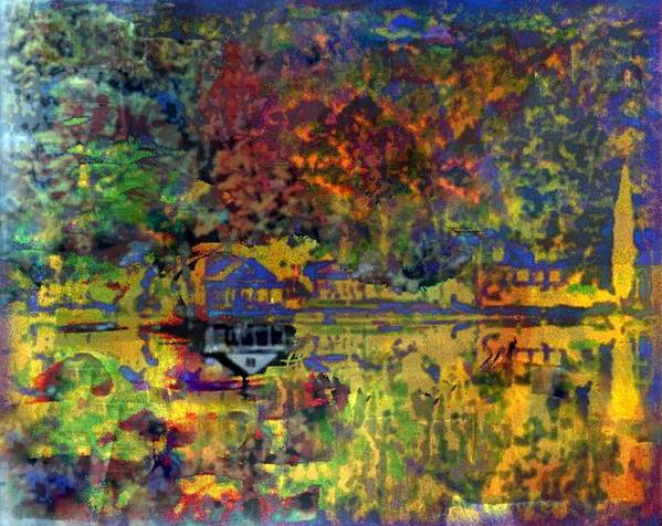 Lake Print featuring the mixed media Colors On The Lake by YoMamaBird Rhonda