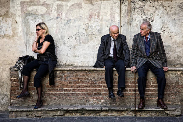 Street Photography Print featuring the photograph Communication by Dave Bowman