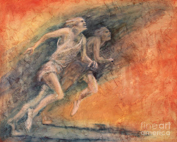 Sports Print featuring the painting Competition by Larry Daeumler