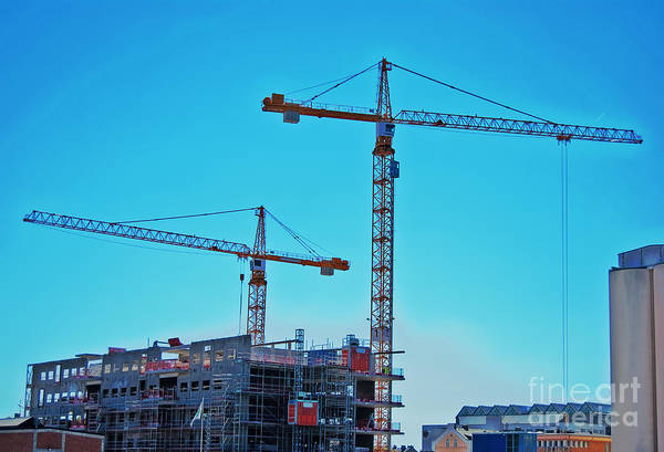 Construction Print featuring the photograph construction cranes HDR by Antony McAulay