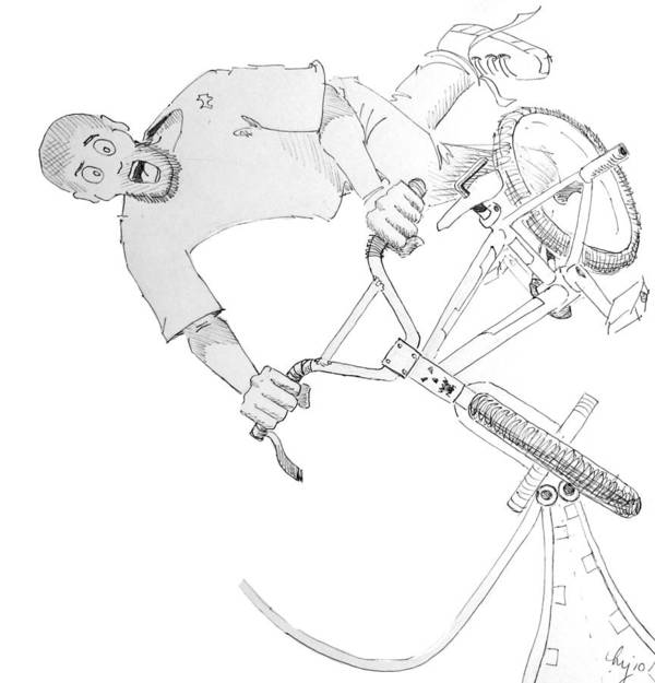 Bmx Print featuring the drawing Cool Bmx Drawing by Mike Jory