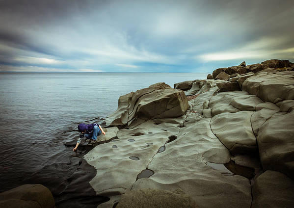 magic To The Touch lake Superior brighton Beach Duluth Nature greeting Cards northern Minnesota north Shore child human Element landscape Clouds Beach Magic Nature Print featuring the photograph Cool To The Touch by Mary Amerman