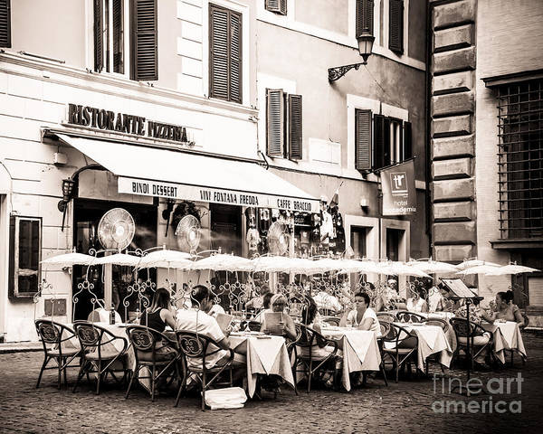 Ristorante Print featuring the photograph Cooling Off In Sepia by Christina Klausen