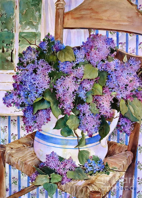 Lilacs Print featuring the painting Country Lilacs by Sherri Crabtree