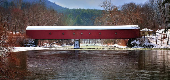 Covered Bridge Print featuring the photograph Covered Bridge Of West Cornwall-winter Panorama by Thomas Schoeller