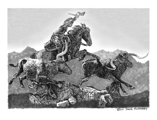 Pen & Ink Art Prints Of Cowboys Print featuring the drawing Cowboys And Longhorns by Jack Pumphrey