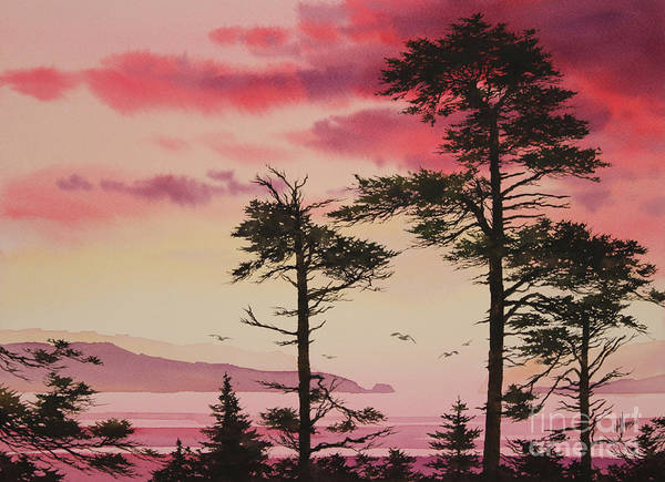 Sunset Print featuring the painting Crimson Sunset Splendor by James Williamson