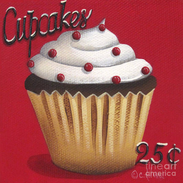 Art Print featuring the painting Cupcakes 25 Cents by Catherine Holman
