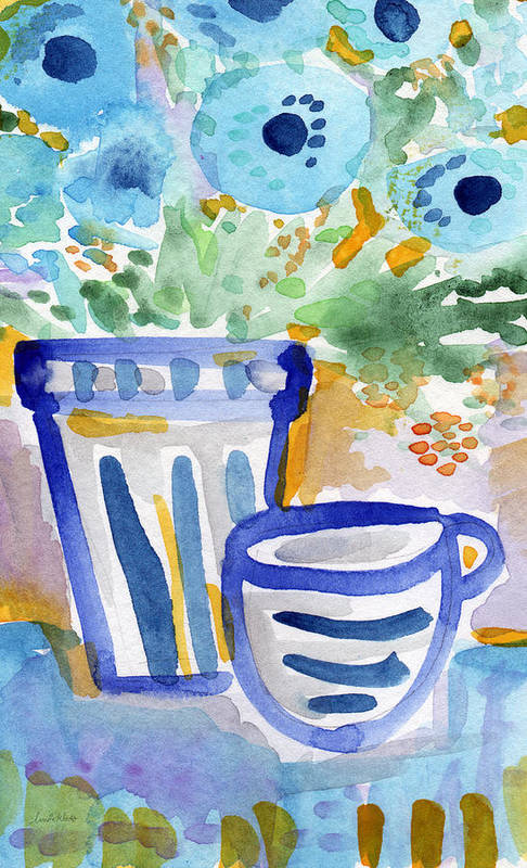 Blue And White Print featuring the painting Cups And Flowers- Watercolor Floral Painting by Linda Woods