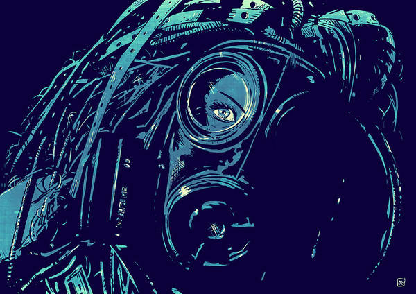 Sci Fi Print featuring the drawing Cyber Punk by Giuseppe Cristiano