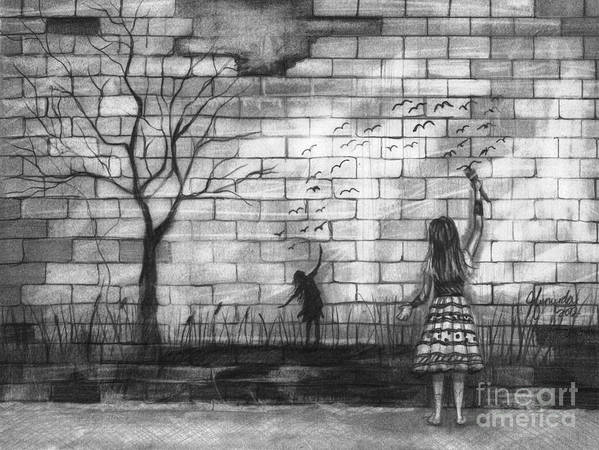 Brick Wall Print featuring the drawing Dare To Be by J Ferwerda