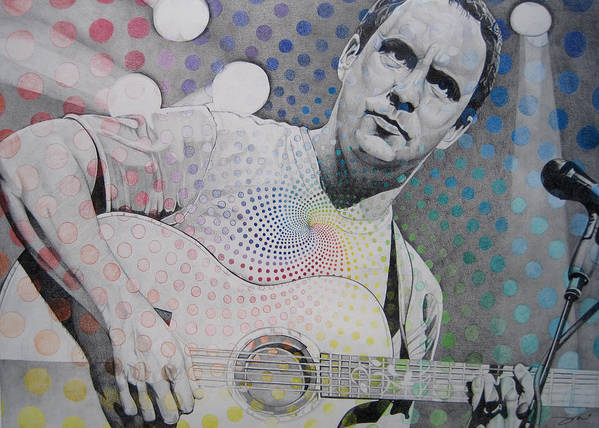 Dave Matthews Print featuring the drawing Dave Matthews All The Colors Mix Together by Joshua Morton