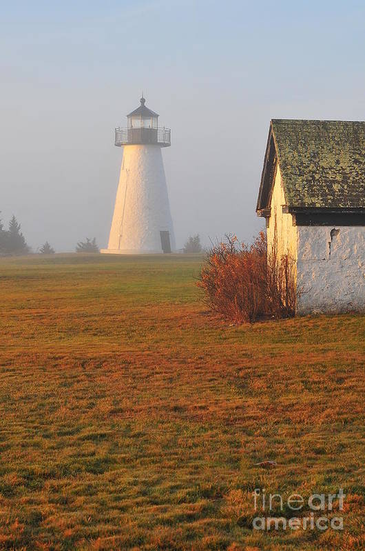 Lighthouse Print featuring the photograph Dawn Fog by Catherine Reusch Daley