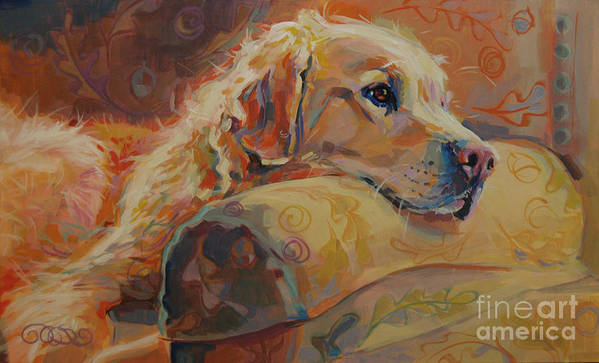 Golden Retriever Print featuring the painting Daydream by Kimberly Santini