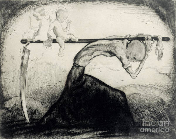 Skeleton Print featuring the drawing Death With Two Children Carried On His Scythe by Michel Fingesten