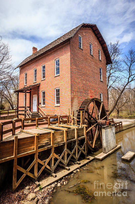 1800's Print featuring the photograph Deep River Grist Mill In Northwest Indiana by Paul Velgos