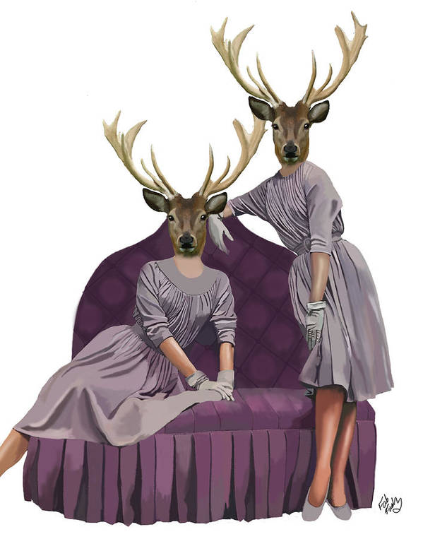 Deer Framed Prints Print featuring the digital art Deer Twins In Purple by Kelly McLaughlan