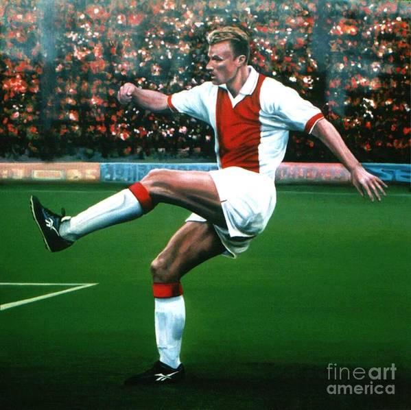Dennis Bergkamp Print featuring the painting Dennis Bergkamp Ajax by Paul Meijering