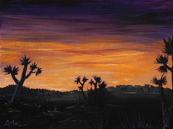 Calm Print featuring the painting Desert Night by Anastasiya Malakhova