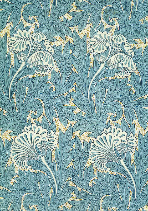 William Print featuring the tapestry - textile Design In Turquoise by William Morris
