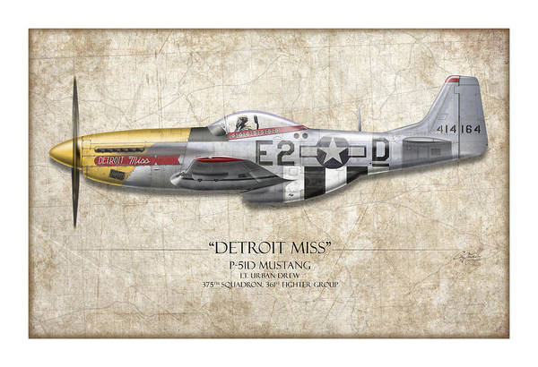 Aviation Print featuring the painting Detroit Miss P-51d Mustang - Map Background by Craig Tinder
