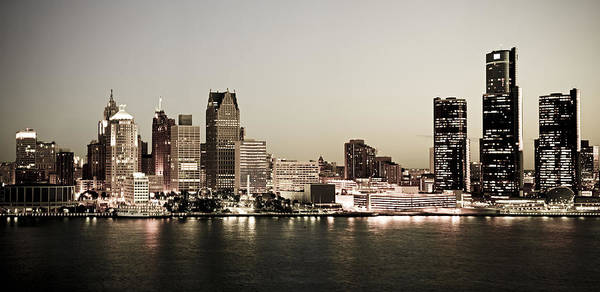 Detroit Print featuring the photograph Detroit Skyline At Night by Levin Rodriguez