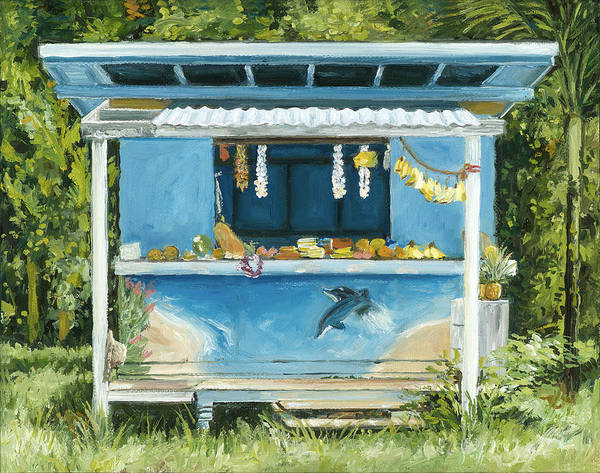 Tropical Fruit Print featuring the painting Dolphin Bar by Stacy Vosberg