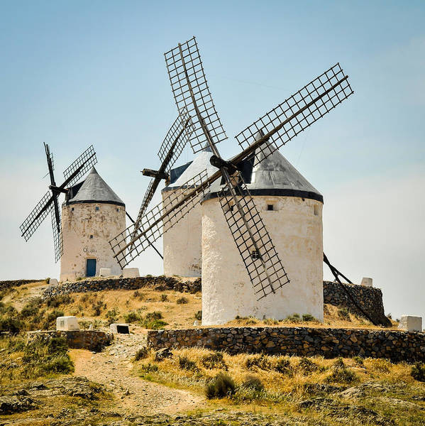 Spain Print featuring the photograph Don Quixote's Windmills by Tetyana Kokhanets