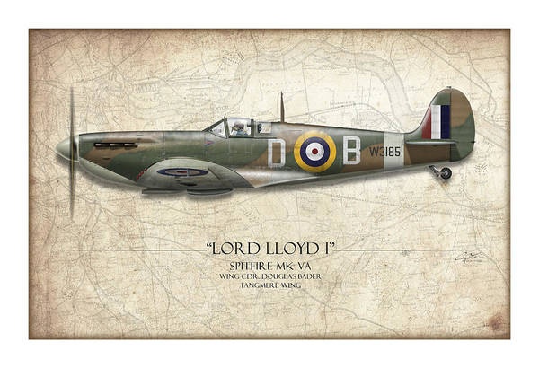 Aviation Print featuring the painting Douglas Bader Spitfire - Map Background by Craig Tinder