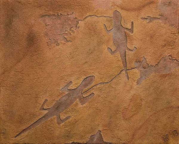 Petroglyph Print featuring the relief Dream Walkers by Katie Fitzgerald