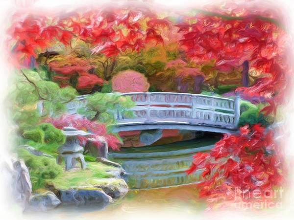 Impressionism Print featuring the photograph Dreaming Of Fall Bridge In Manito Park by Carol Groenen
