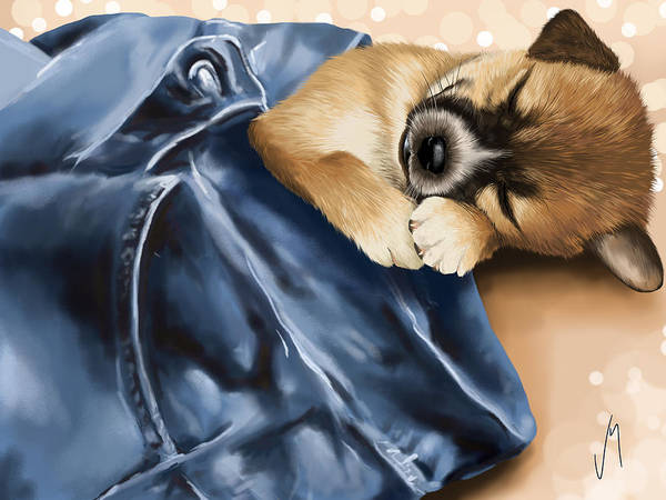 Dog Print featuring the painting Dreaming by Veronica Minozzi