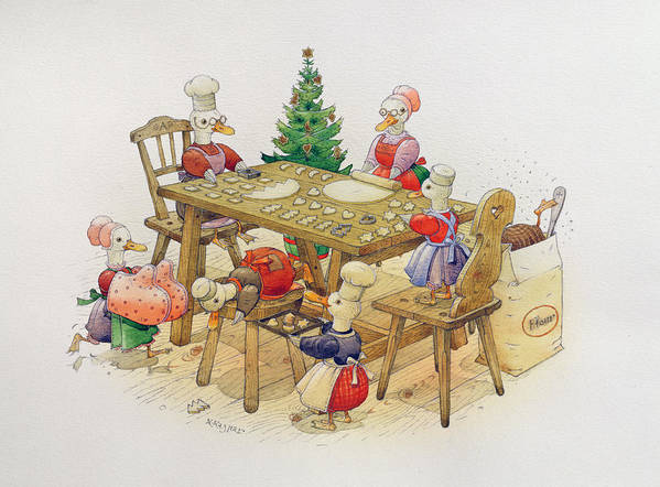 Cooking Print featuring the painting Ducks Christmas by Kestutis Kasparavicius