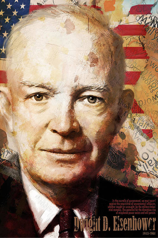 Ike Print featuring the painting Dwight D. Eisenhower by Corporate Art Task Force