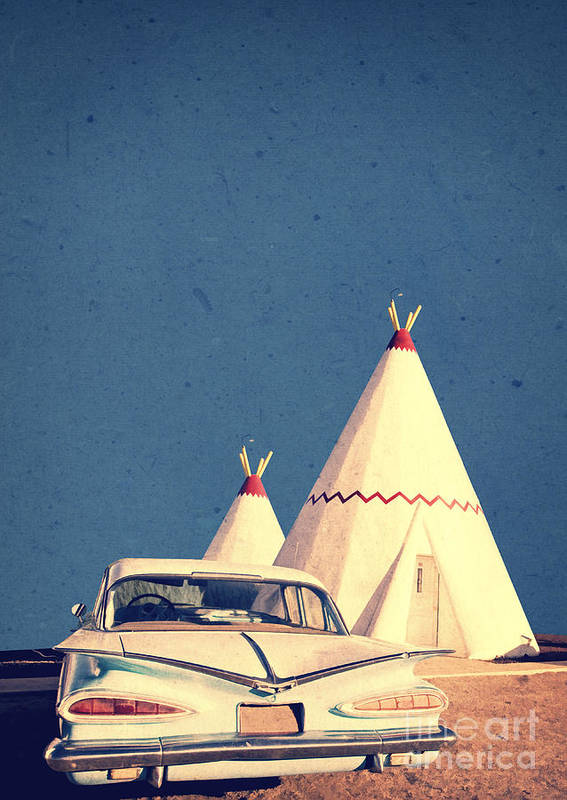 Road Print featuring the photograph Eat And Sleep In A Wigwam by Edward Fielding