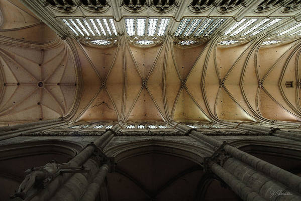 France Print featuring the photograph Ecclesiastical Ceiling No. 1 by Joe Bonita