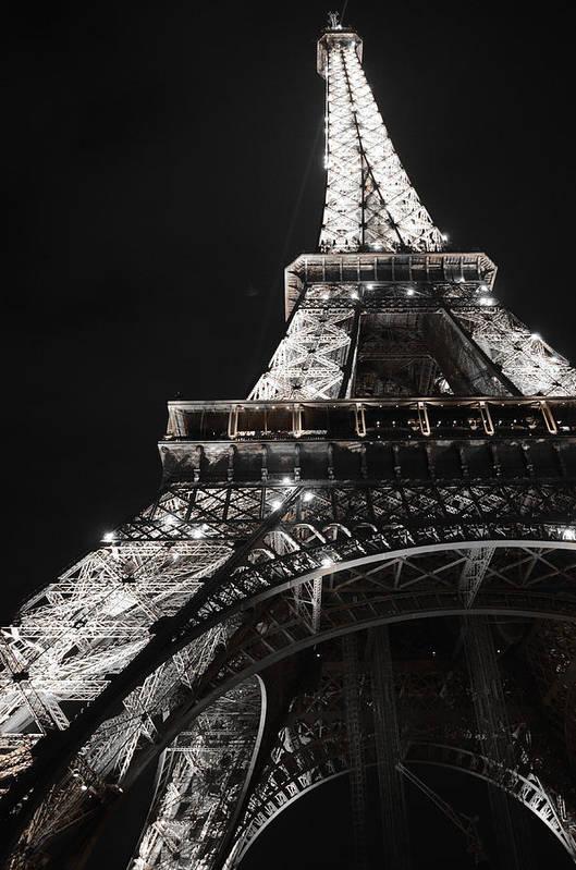 Landmark Eiffel Tower At Night Pairs France Print featuring the photograph Eiffel Tower Paris France Night Lights by Patricia Awapara