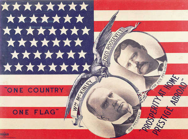Usa Print featuring the painting Electoral Poster For The American Presidential Election Of 1900 by American School